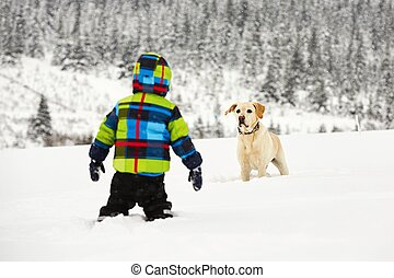 Wintry adventure - Boy with labrador retriever are playing...