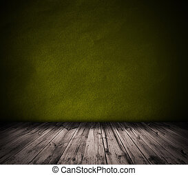 Yellow wall and wooden floor interior background