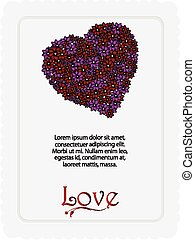 Valentine floral heart card with sample text
