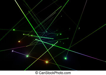 Laser lighting - Abstract of digital green light laser line
