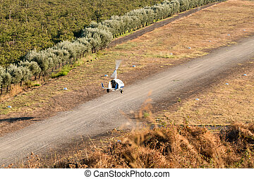 Gyrocopter is landing