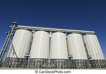 grain silos - View of modern grain silos in Spain