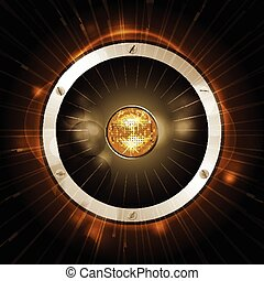 Speaker with disco ball on gold background