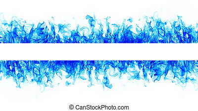 Blue Fire flame frame on white background