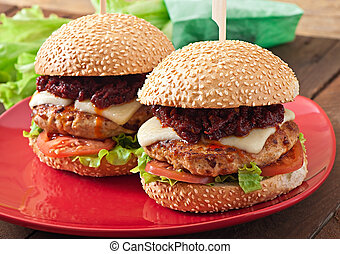 American burger with chicken and bacon, homemade barbecue...