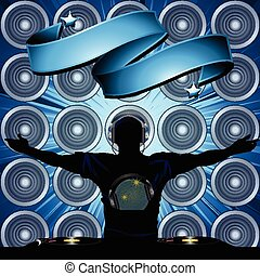 DJ and banner on wall speakers background