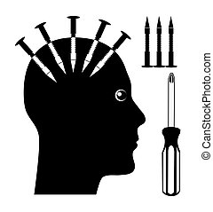 Mind Control - Concept sign of abused person who gets...