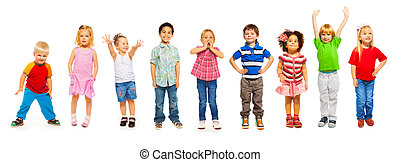 Combination of little kids standing isolated - Combination...