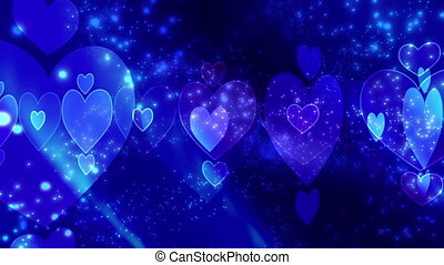 Blue Abstract Love Loop - Blue Hearts and Particles Looping...