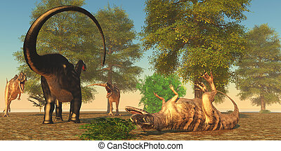 Apatasaurus fights Ceratosaurus - Apatosaurus sends one of...