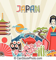 Japan background design. Illustration on Japanese theme.