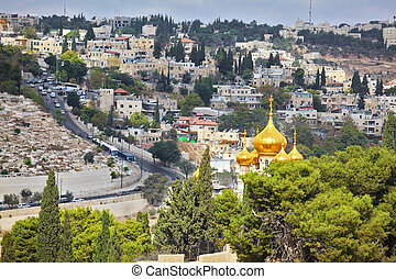 Golden domes church of Mary Magdalene - Golden domes of an...