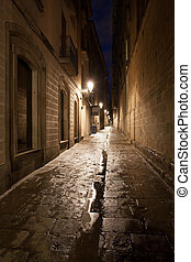 Barri Gotic in Barcelona - Narrow alley at night in the...
