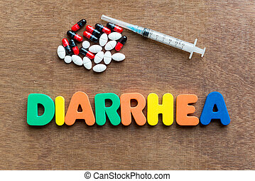diarrhea colorful word in the wooden background