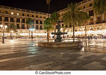 Placa Reial at Night in Barcelona - Placa Reial at night in...