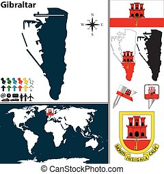 Map of Gibraltar - Vector map of Gibraltar with coat of arms...