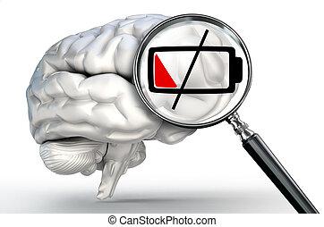 low energy level on magnifying glass and human brain on...