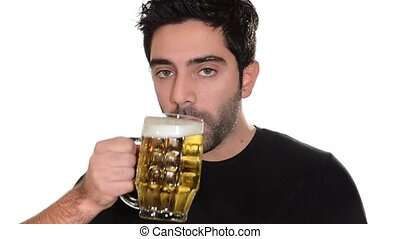young man drinking beer on a white background