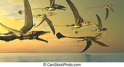 Eudimorphodon Dinosaur Flock - A flock of Eudimorphodon...
