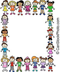 Seamless kids friendship pattern 2 - Frame or page border of...