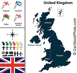 Map of England - Vector map of United Kingdom with flags