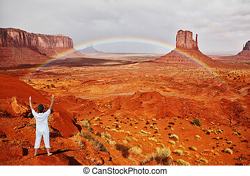 """Woman performs asana """"Sun salutation"""" - Navajo Reservation..."""