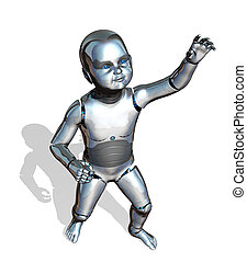 Robot Baby Reaching - A robo-baby is reaching up - emerging...