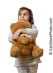 girl with teddy bear - little young girl holding teddy bear...