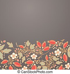 barberry border, hand-drawn berry pattern place text on the...