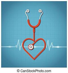 Heart Shape Stethoscope Valentine's Day Background Design
