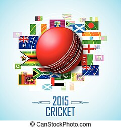 Cricket ball with different participating countries flag