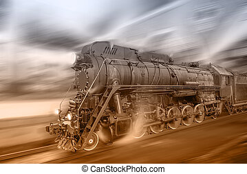 Steam train goes fast on the night station background...