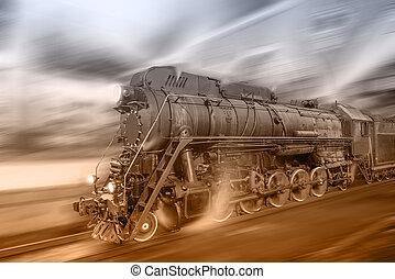 vapor, tren, Va, Rápido, en, el, noche,...