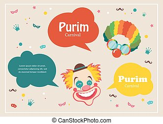 Card for Jewish holiday Purim with clown and speech bubbles...