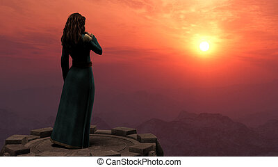 Woman Standing on Tower in Mountains at Sunset