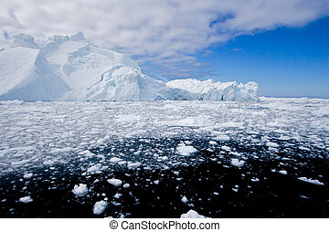 Ice fjord - Ice and iceberg in the fjord of Ilulissat,...
