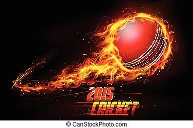 Fiery cricket ball - illustration of fiery cricket ball in...