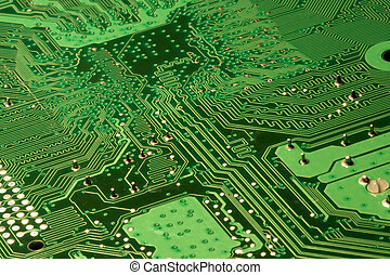Green computer circuit details - Close up of a Green...