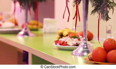 Refreshment table - Decorated with festive table for snacks