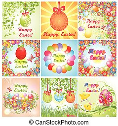 Easter greeting cards. Set.