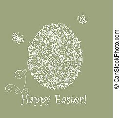 Easter greeting green card with egg