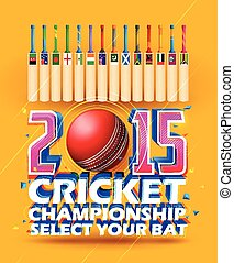 Cricket bat of different participating countries -...