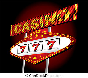 Casino neon - Big red neon for casino with one arm bandit