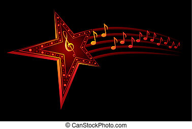 Music star - Neon star with music notes isolated on black