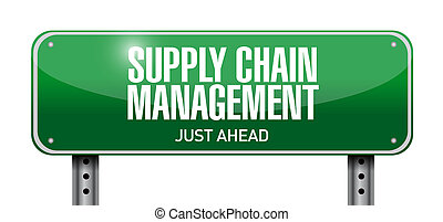 supply chain management road sign illustration design over a...