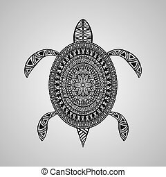 Vector Turtle, tattoo style,