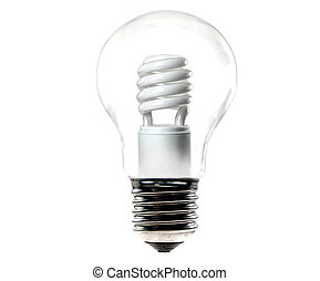 energy saving light bulb in an old tungsten bulb isolated on...