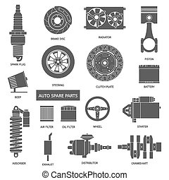 Set of auto spare parts Car repair icons in flat style...