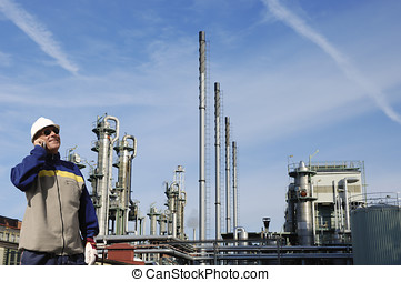 oil and gas worker with refinery - oil and gas worker in...