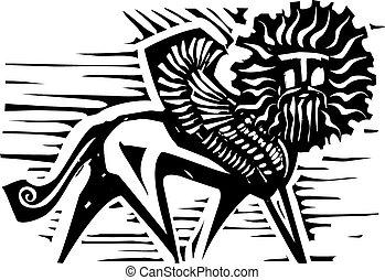 Winged Sphinx - Woodcut style image of mythological winged...